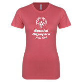 Next Level Ladies SoftStyle Junior Fitted Pink Tee-Primary Mark Vertical