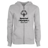 ENZA Ladies Grey Fleece Full Zip Hoodie-Primary Mark Vertical