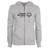 ENZA Ladies Grey Fleece Full Zip Hoodie-Primary Mark Horizontal