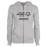 ENZA Ladies Grey Fleece Full Zip Hoodie-Athlete