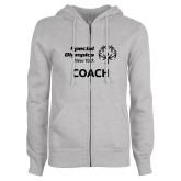 ENZA Ladies Grey Fleece Full Zip Hoodie-Coach
