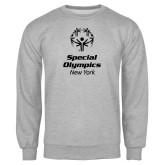 Grey Fleece Crew-Primary Mark Vertical