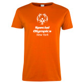 Ladies Orange T Shirt-Primary Mark Vertical