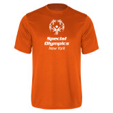 Performance Orange Tee-Primary Mark Vertical