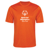 Performance Orange Heather Contender Tee-Primary Mark Vertical