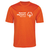 Performance Orange Heather Contender Tee-Primary Mark Horizontal