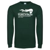 Dark Green Long Sleeve T Shirt-Law Enforcement Torch Run