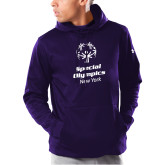 Under Armour Purple Armour Fleece Hoodie-Primary Mark Vertical