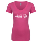 Next Level Ladies Junior Fit Ideal V Pink Tee-Primary Mark Horizontal