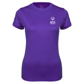 Ladies Syntrel Performance Purple Tee-Primary Mark Vertical