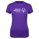 Ladies Syntrel Performance Purple Tee-Primary Mark Horizontal