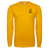 Gold Long Sleeve T Shirt-Primary Mark Vertical
