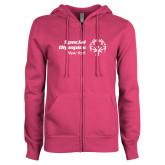 ENZA Ladies Fuchsia Fleece Full Zip Hoodie-Primary Mark Horizontal