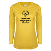 Ladies Syntrel Performance Gold Longsleeve Shirt-Primary Mark Vertical