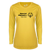 Ladies Syntrel Performance Gold Longsleeve Shirt-Primary Mark Horizontal