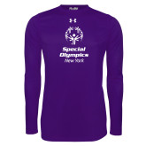Under Armour Purple Long Sleeve Tech Tee-Primary Mark Vertical