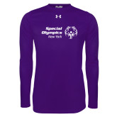 Under Armour Purple Long Sleeve Tech Tee-Primary Mark Horizontal