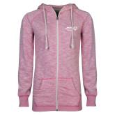 ENZA Ladies Hot Pink Marled Full Zip Hoodie-Primary Mark Horizontal