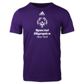Adidas Purple Logo T Shirt-Primary Mark Vertical