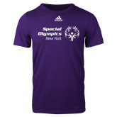 Adidas Purple Logo T Shirt-Primary Mark Horizontal