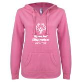 ENZA Ladies Hot Pink V Notch Raw Edge Fleece Hoodie-Primary Mark Vertical