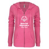 ENZA Ladies Hot Pink Light Weight Fleece Full Zip Hoodie-Primary Mark Vertical