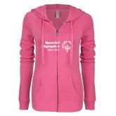 ENZA Ladies Hot Pink Light Weight Fleece Full Zip Hoodie-Primary Mark Horizontal