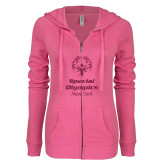 ENZA Ladies Hot Pink Light Weight Fleece Full Zip Hoodie-M Hot Pink Glitter