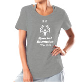 Ladies Under Armour Grey Charged Cotton Tee-Primary Mark Vertical