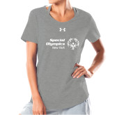 Ladies Under Armour Grey Charged Cotton Tee-Primary Mark Horizontal