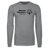 Grey Long Sleeve T Shirt-Primary Mark Horizontal