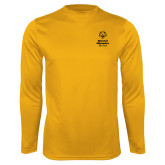 Performance Gold Longsleeve Shirt-Primary Mark Vertical