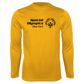 Performance Gold Longsleeve Shirt-Primary Mark Horizontal