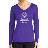 Ladies Syntrel Performance Purple Longsleeve Shirt-Primary Mark Vertical