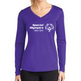 Ladies Syntrel Performance Purple Longsleeve Shirt-Primary Mark Horizontal
