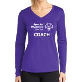 Ladies Syntrel Performance Purple Longsleeve Shirt-Coach
