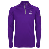 Under Armour Purple Tech 1/4 Zip Performance Shirt-Primary Mark Vertical