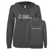 ENZA Ladies Dark Heather V Notch Raw Edge Fleece Hoodie-Young Athletes Shirt Front