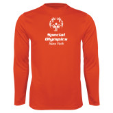 Performance Orange Longsleeve Shirt-Primary Mark Vertical