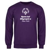 Purple Fleece Crew-Primary Mark Vertical