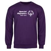 Purple Fleece Crew-Primary Mark Horizontal