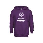 Youth Purple Fleece Hoodie-Primary Mark Vertical