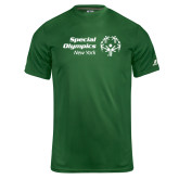 Russell Core Performance Dark Green Tee-Primary Mark Horizontal
