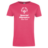 Ladies Fuchsia T Shirt-Primary Mark Vertical