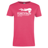 Ladies Fuchsia T Shirt-Law Enforcement Torch Run