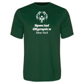 Performance Dark Green Tee-Primary Mark Vertical