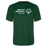 Performance Dark Green Tee-Primary Mark Horizontal