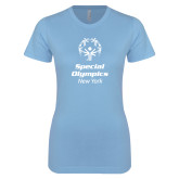 Ladies SoftStyle Junior Fitted Light Blue Tee-Primary Mark Vertical