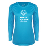 Ladies Syntrel Performance Light Blue Longsleeve Shirt-Primary Mark Vertical