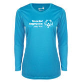 Ladies Syntrel Performance Light Blue Longsleeve Shirt-Primary Mark Horizontal